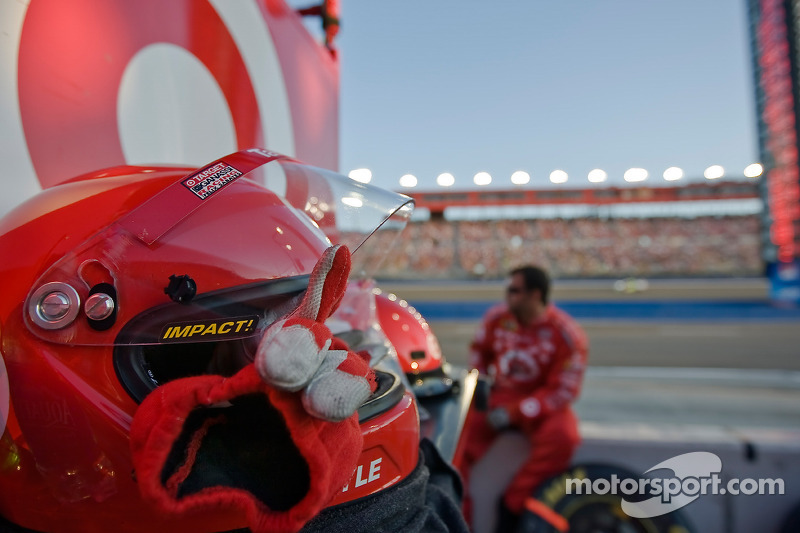 The Target pit crew watch the race from their pits