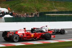 Lewis Hamilton, McLaren Mercedes makes a move to overtake Kimi Raikkonen, Scuderia Ferrari, F2008
