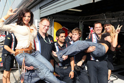 Candice Michelle and Kelly Kelly, WWE Wrestling with Red Bull Racing team members
