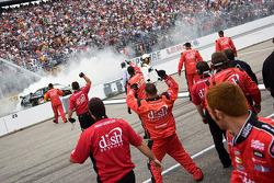 Race winner Greg Biffle celebrates