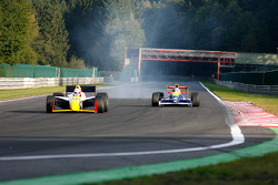 Pace lap: #9 Hubertus Bahlsen (D) Ryschka Motorsport, IRL G-Force Chevy 3.5 V8, and #3 Peter Milavec (AUT) GP Racing, F1 Lola T92/50 Cosworth 3.5 V8