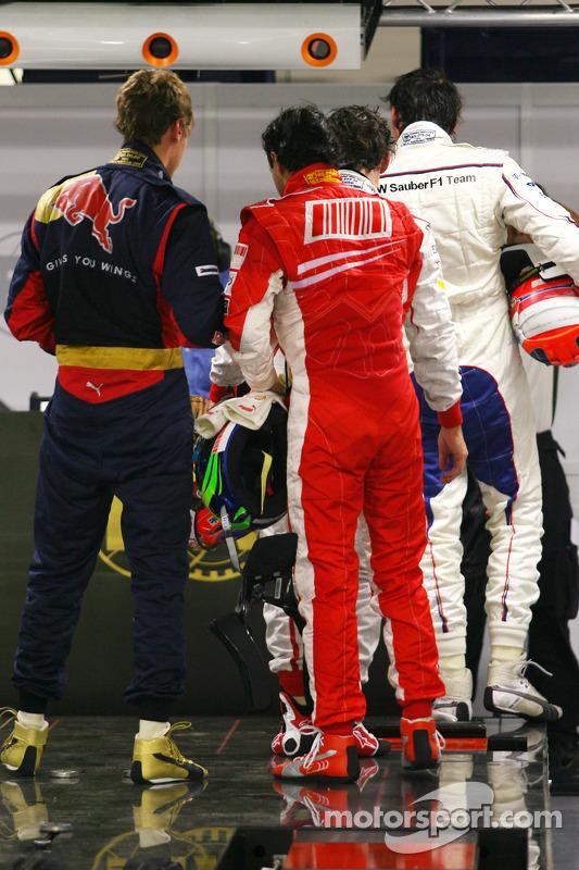 Pole winner Felipe Massa and Sebastian Vettel