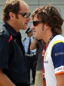 Gerhard Berger, Scuderia Toro Rosso, 50% Team Co Owner and Fernando Alonso, Renault F1 Team