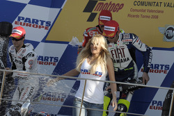 Podium: race winner Casey Stoner, second place Dani Pedrosa, third place Valentino Rossi