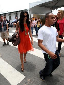 Nicole Scherzinger, Singer in the Pussycat Dolls, girlfriend of Lewis Hamilton, McLaren Mercedes, Nicholas Hamilton, Brother of Lewis Hamilton, McLaren Mercedes