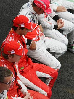 Lewis Hamilton, McLaren Mercedes and Felipe Massa, Scuderia Ferrari and Kimi Raikkonen, Scuderia Ferrari