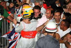 2008 World Champion Lewis Hamilton celebrates