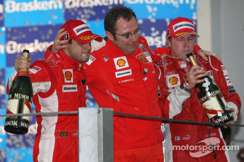 Podium: champagne for Felipe Massa, Kimi Raikkonen and Stefano Domenicali