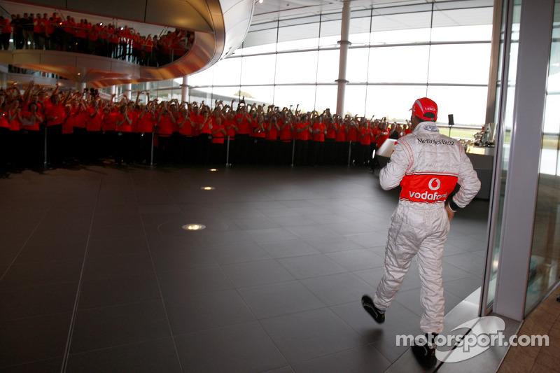 Lewis Hamilton arrives at the McLaren Technology Centre