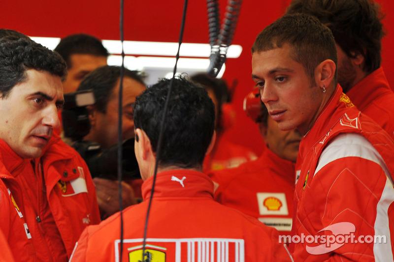 Valentino Rossi tes Ferrari F2008 di Mugello pada 2008