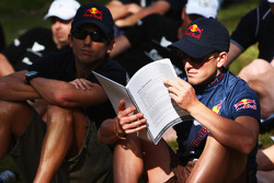 Launceston, Australia: Jan Kubicek and Liewue Boonstra of Team Red Bull check the race programme