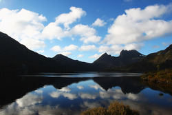 Launceston, Australia: a general view of Dove Lake and Cradle Mountain
