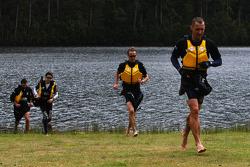 Launceston, Australia: Team RBS run to the finish line