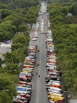 Overall view of the Parc Fermé in Buenos Aires