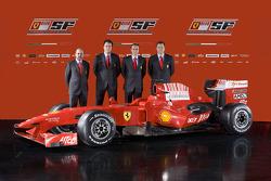 Head of engine department Gilles Simon, chief designer Nicholas Tombazis, team director Stefano Domenicali and chief designer Aldo Costa with the new Ferrari F60