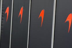 McLaren Mercedes work behind the barriers