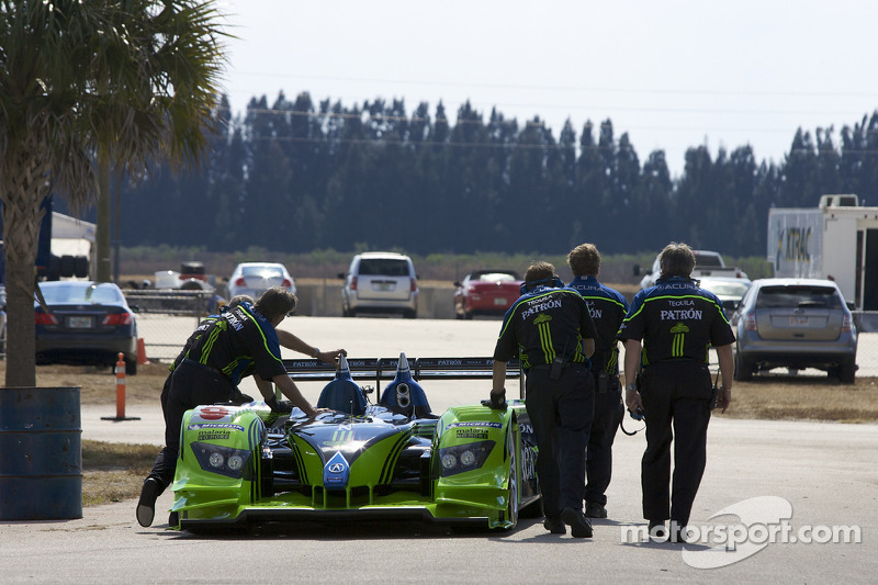 #9 Patron Highcroft Racing Acura ARX 02a Acura is taken to the paddock