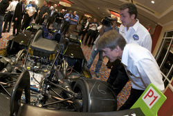 Adrian Fernandez and Michel Jourdain check out the Patron Highcroft Racing Acura ARX 02a
