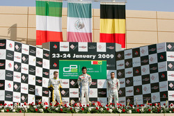 Sergio Perez celebrates his victory on the podium with Davide Valsecchi and Jerome D'Ambrosio