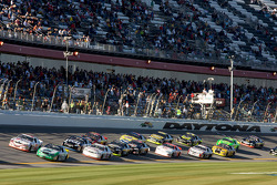 Matt Carter and Michael Annett lead a group of cars
