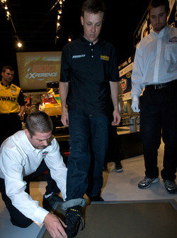 Champion's breakfast: Matt Kenseth, Roush Fenway Racing Ford, has his foot imprint on the Daytona 500 champion cement plate