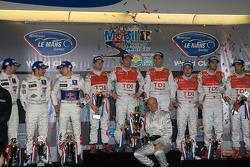 P1 podium: class and overall winners Allan McNish, Tom Kristensen and Rinaldo Capello, second place