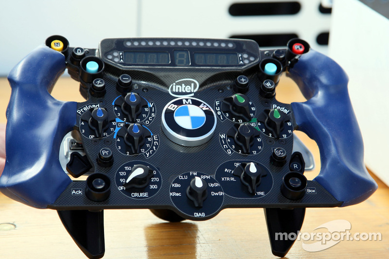 Nick Heidfeld, BMW Sauber F1 Team and the steering wheel with KERS BOOST Button and Wings adjustment button