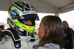 Augusto Farfus, BMW Team Germany celebrating his pole with his wife Liri