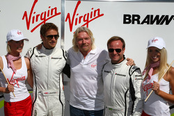 Jenson Button, Brawn GP with Sir Richard Branson CEO of the Virgin Group makes and announcement regarding the Virgin sponsorship deal with Brawn GP Rubens Barrichello, Brawn GP