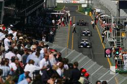 Nico Rosberg, Williams F1 Team, FW31 and Kazuki Nakajima, Williams F1 Team, FW31 in the pitlane