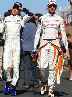 Adrian Sutil, Force India F1 Team and Nico Rosberg, Williams F1 Team