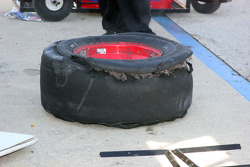 Shredded tire from David Stremme's car