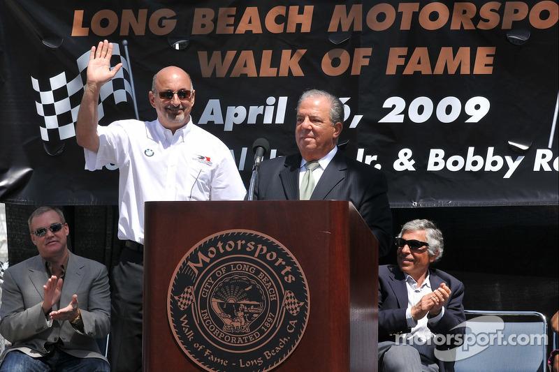 Bobby Rahal on the podium with Mayor Bob Foster