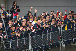 The Red Bull team celebrate