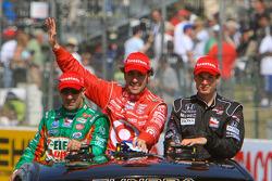 Race winner Dario Franchitti, Target Chip Ganassi Racing, second place Will Power, Team Penske, third place Tony Kanaan, Andretti Green Racing