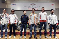 Honda Racing 50 years of championship racing event: Honda riders pose