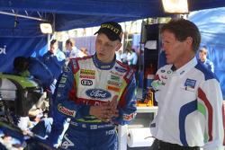 Mikko Hirvonen listens to M-Sport Team Director, Malcolm Wilson