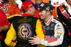 Victory lane: race winner Brad Keselowski, Phoenix Racing Chevrolet celebrates with Dale Earnhardt Jr., Hendrick Motorsports Chevrolet
