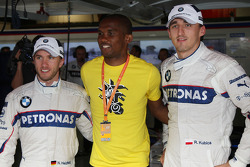 Nick Heidfeld;Robert Kubica, BMW Sauber F1 Team with Samuel Eto'o from FC Barcelona