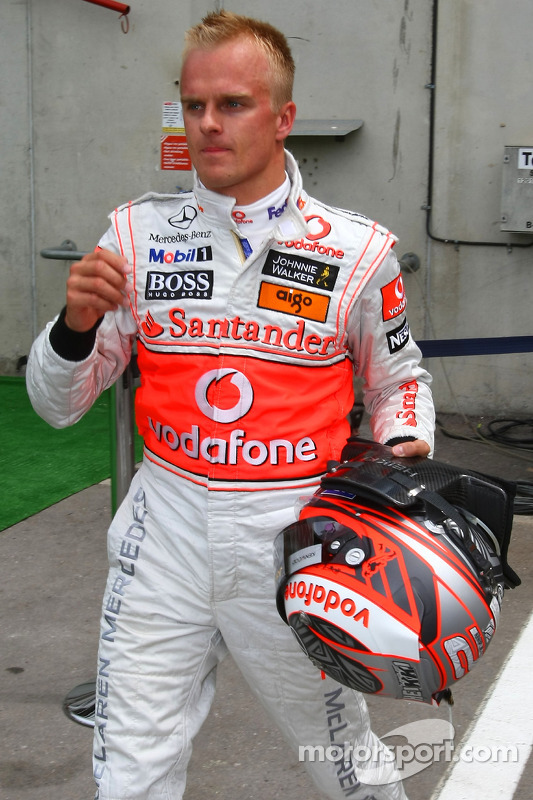 Heikki Kovalainen, McLaren Mercedes after being out in Q1