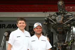 Nick Fry, BrawnGP, Chief Executive Officer, Rubens Barrichello, Brawn GP and the Terminator