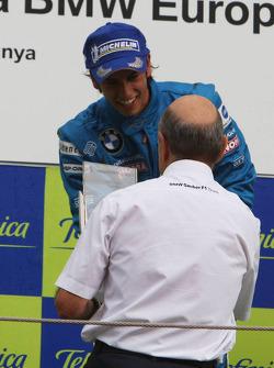 1st, Luiz Felipe Nasr, Eurointernational gets his trophy from Peter Sauber, BMW Sauber F1 Team, Team Advisor