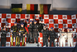 GT1 podium: class and overal winners Michael Bartels and Andrea Bertolini, second place Mike Hezemans and Anthony Kumpen, third place Miguel Ramos and Alex Müller