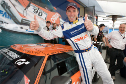 Pole winner Dirk Adorf, Raeder Automotive GmbH Ford GT, celebrates