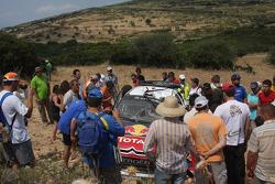 Wrecked car of Sébastien Loeb and Daniel Elena, Citroen C4, Citroen Total World Rally Team