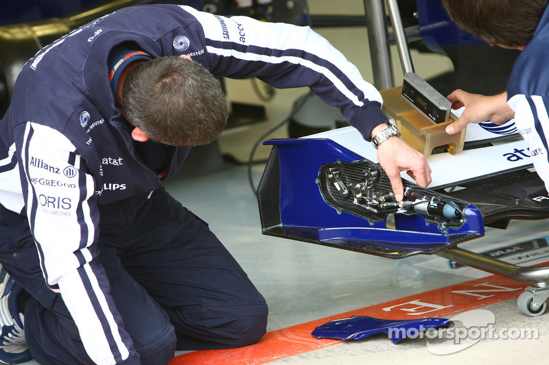 The front wing flap mechanism on the Williams F1 Team