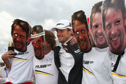 Many Jensons with the real Jenson Button, Brawn GP