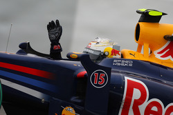 Second place Sebastian Vettel, Red Bull Racing celebrates