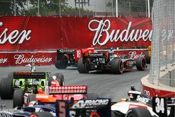 Justin Wilson, Dale Coyne Racing and Danica Patrick, Andretti Green Racing battle