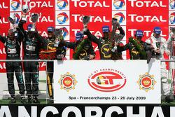 Podium: race winners Mike Hezemans, Anthony Kumpen, Jos Menten, Kurt Mollekens